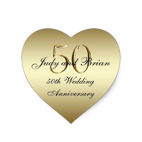 Gold Black 50th Wedding Anniversary Heart Sticker Zazzle Com 50th Wedding Anniversary Wedding Stickers Gold Wedding Invitations Design