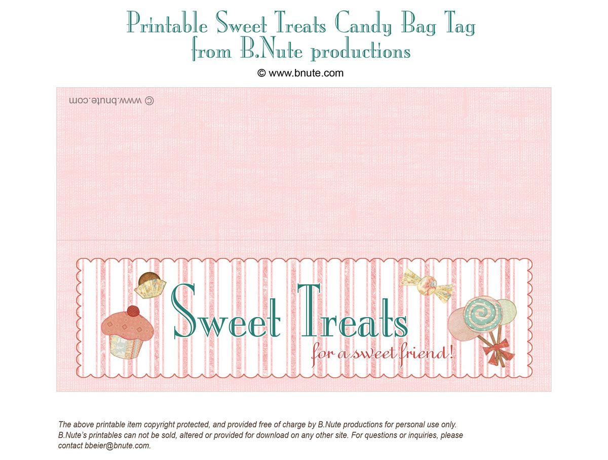 Free Printable Lables Bnute Productions Sweet Treats Bag Label