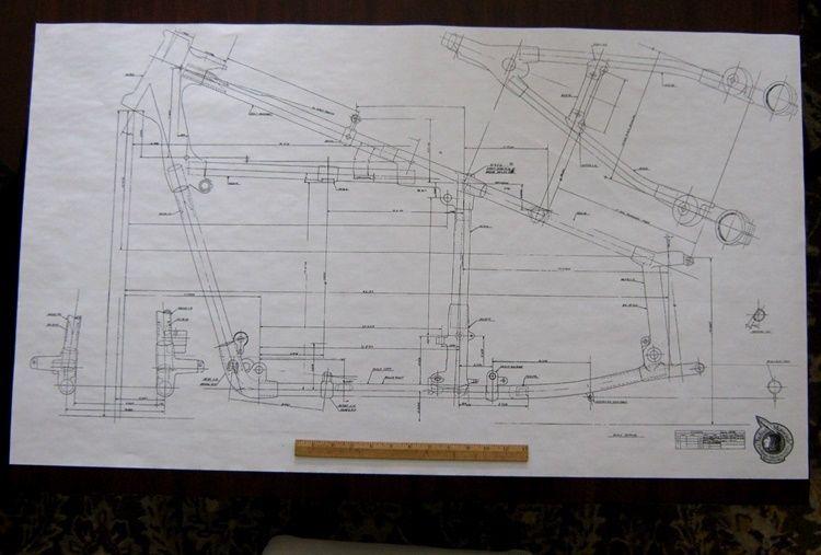 INDIAN Frame Blueprint Drawing poster print of antique Motorcycle - copy blueprint design & draft