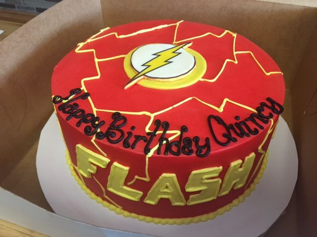 Flash Birthday Cake With Logo And Lightning Bolts With Images