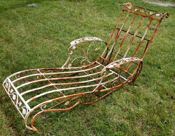 Antique Cast Iron Chaise Lounge Hollywood By Kissmyattvintage