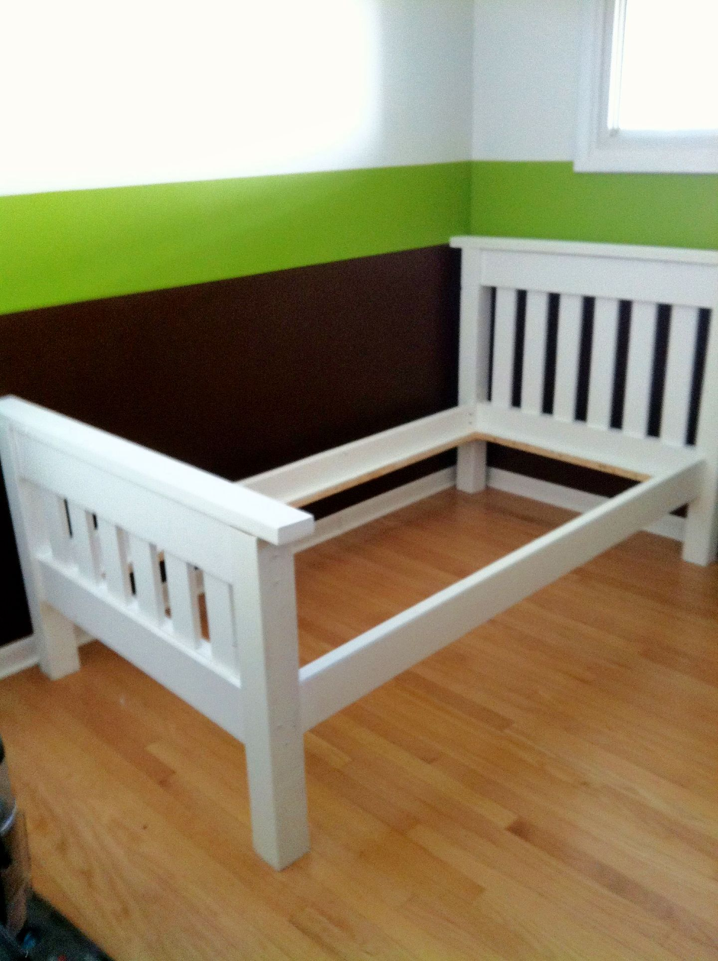 finished the simple bed twin do it yourself home projects from ana white we r going to. Black Bedroom Furniture Sets. Home Design Ideas