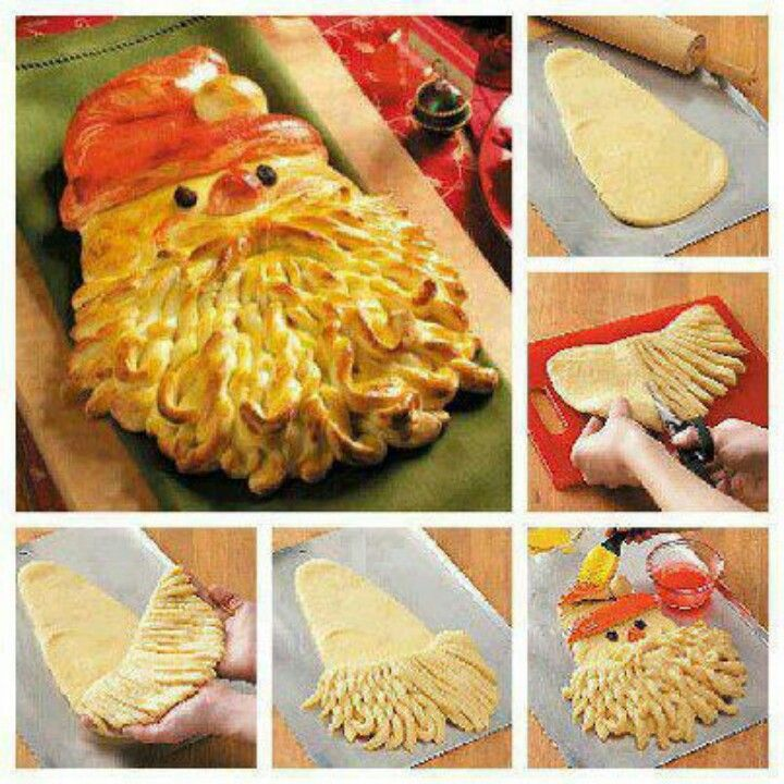 A cool idea with bread dough. The last picture is food coloring and eggwhites to give santa's hat and cheeks color.  The following link is the recipe         http://www.tasteofhome.com/Recipes/Golden-Santa-Bread