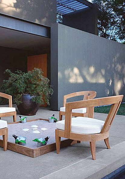 contemporary garden armchair (teak) OLYMPUS by John Hutton ...