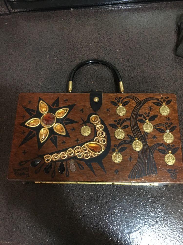 c036098761 1964 Collins Of Texas By Enid Collins Money Tree ll Wood Box Bag Purse  Handbag
