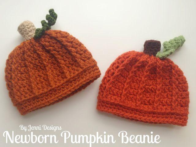 By Jenni Designs Free Crochet Pattern Newborn Pumpkin Beanie Hat