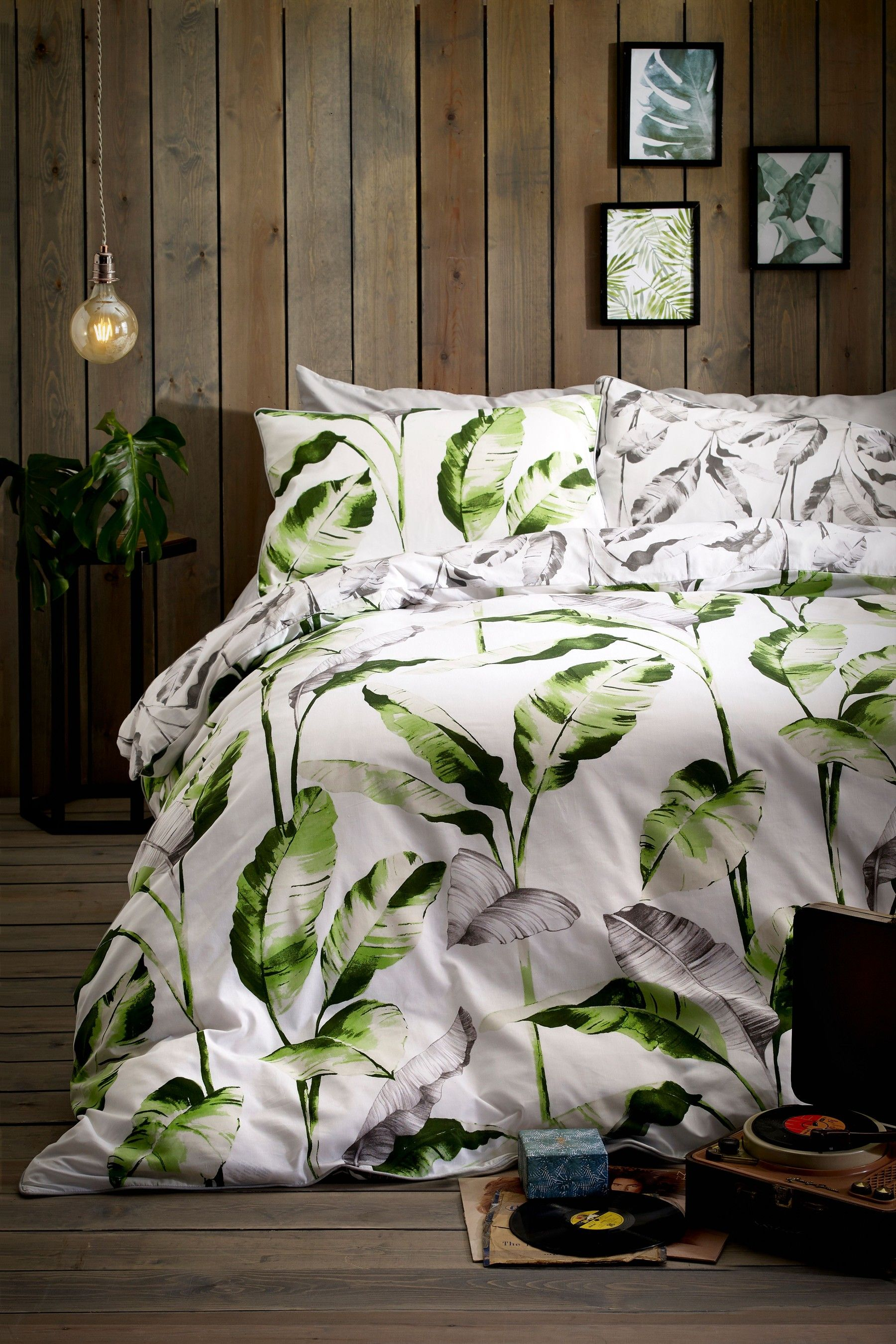 Buy Palm Leaf Print Duvet Cover and Pillowcase Set from