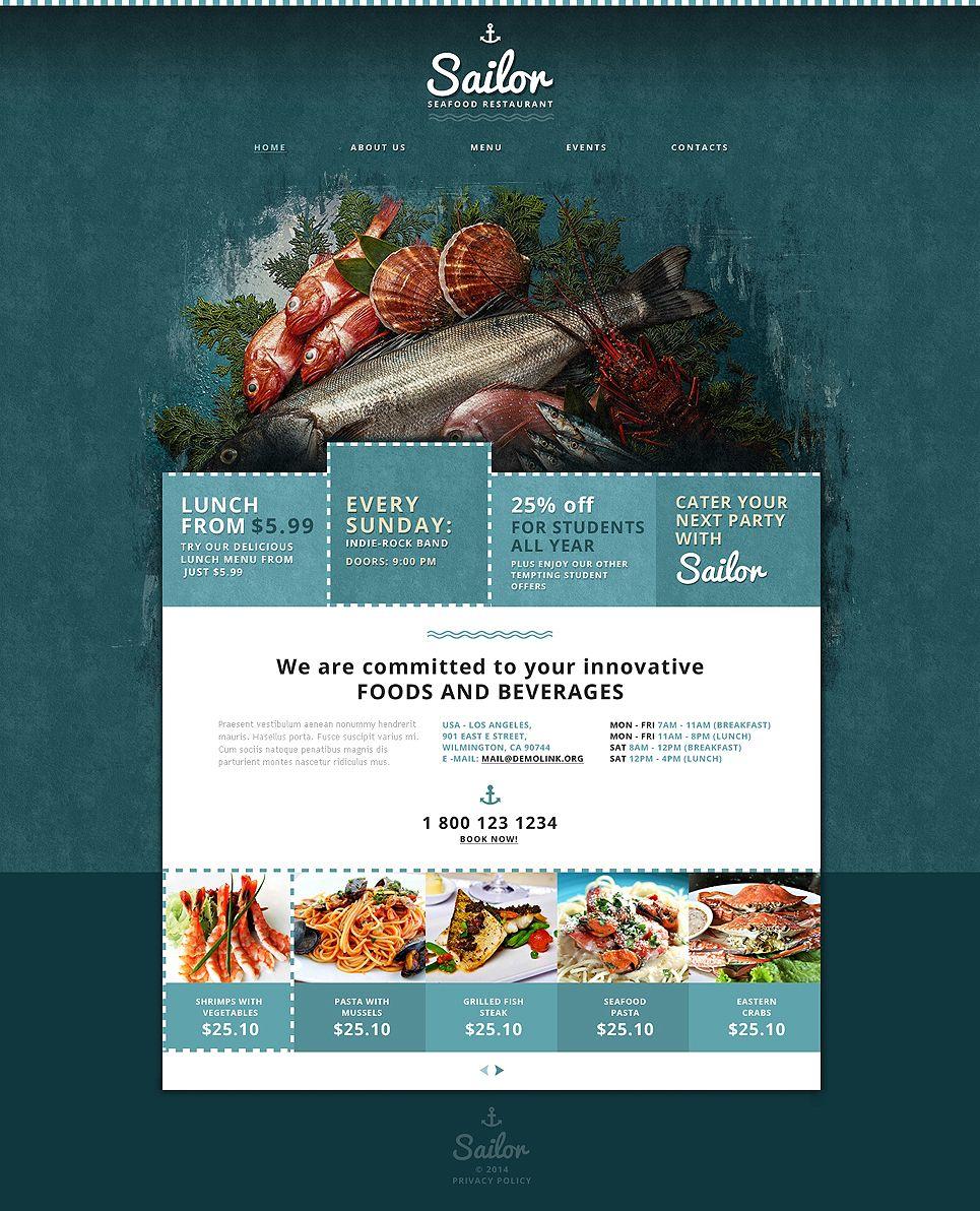 Seafood Restaurant Responsive Website Template 48023 Website