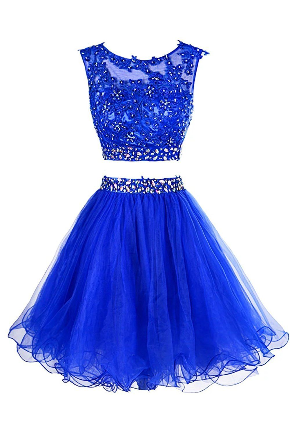 Lacelady womenus two pieces beading tulle applique short homecoming