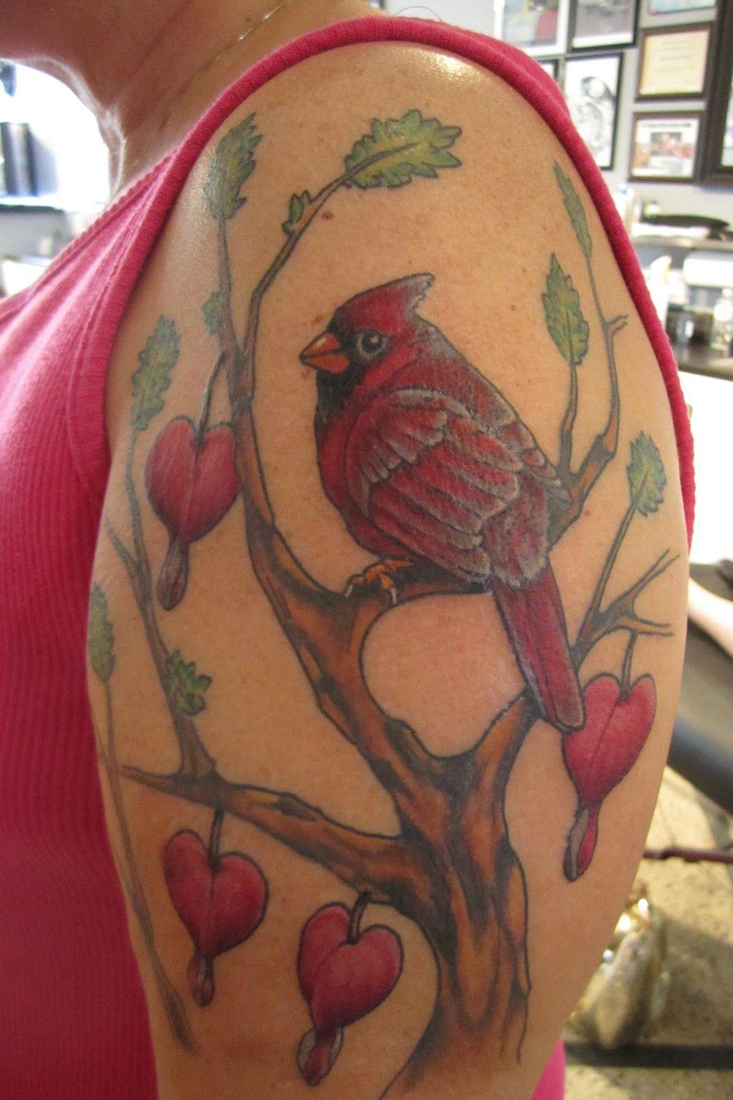 Cardinal And Bleeding Heart Flowers Heart Flower Tattoo