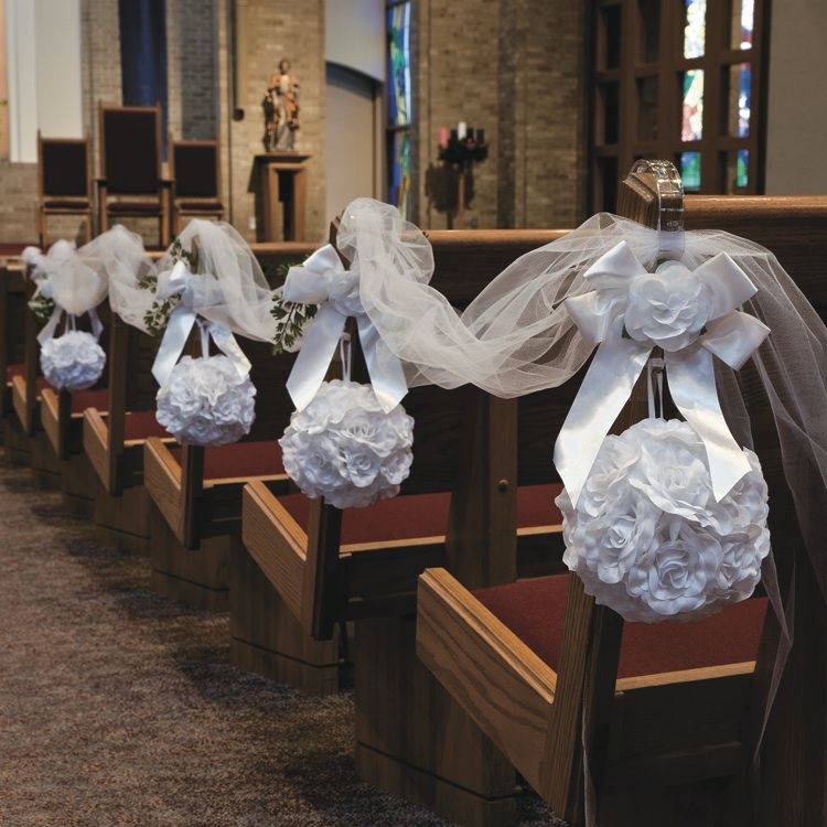 Wedding Decoration Ideas For Church Ceremony: White Rose Pomander Kissing Ball