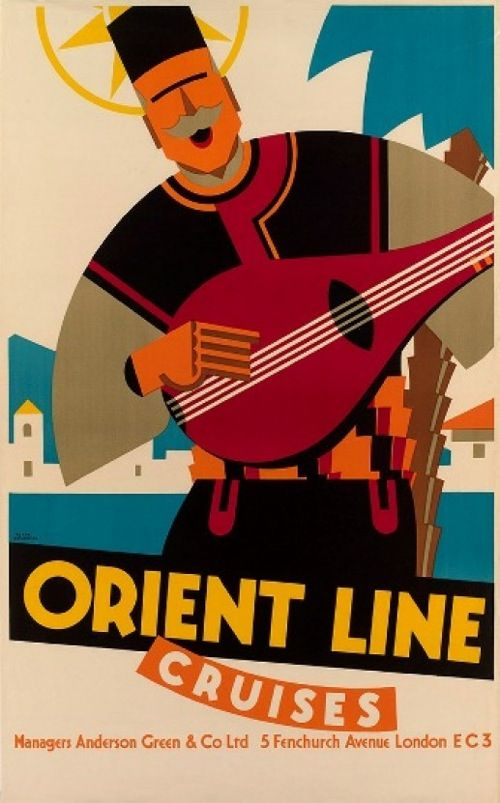 Vintage Travel Poster: Orient Line Cruises by Frank Newbould