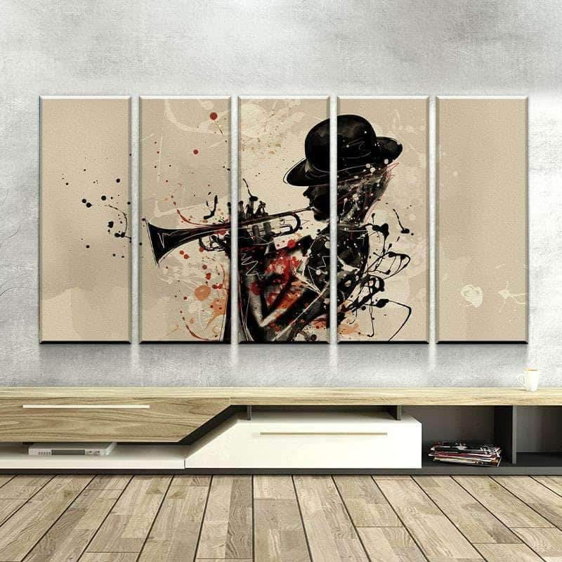 Abstract Trumpet Player Canvas Jazz Wall Art Multi Color Etsy Jazz Wall Art Lovers Art Abstract