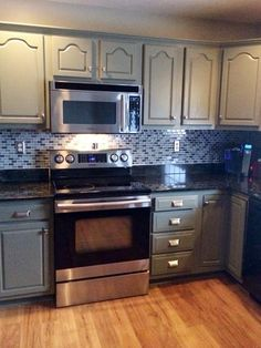 Image Result For Painting Honey Oak Cabinets With Black Countertops