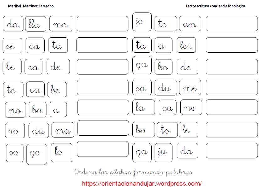 Fichas De Ejercicios Con Sílabas Ejercicios De Silabas Silabas Separar Silabas