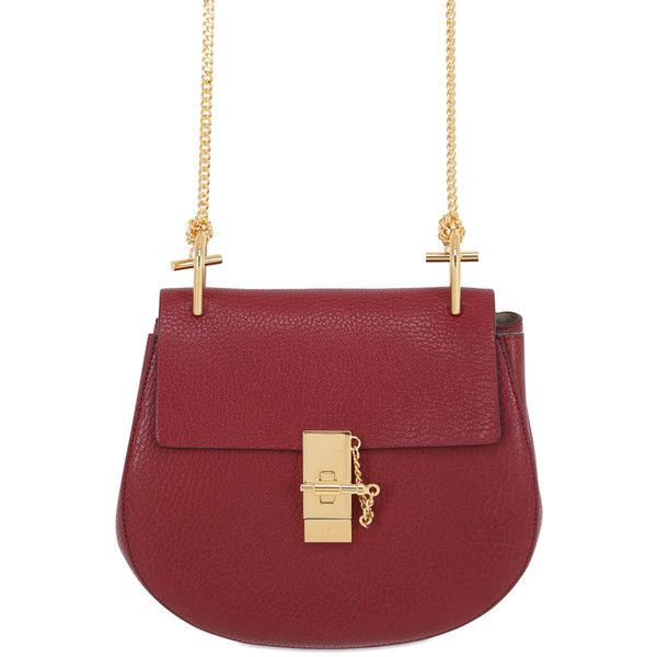 Chloé Women Small Drew Grained Nappa Leather Bag (94,065 MKD) ❤ liked on Polyvore featuring bags, handbags, shoulder bags, sienna red, chain handle handbags, locking purse, chain strap handbag, chain strap purse and nappa leather handbags
