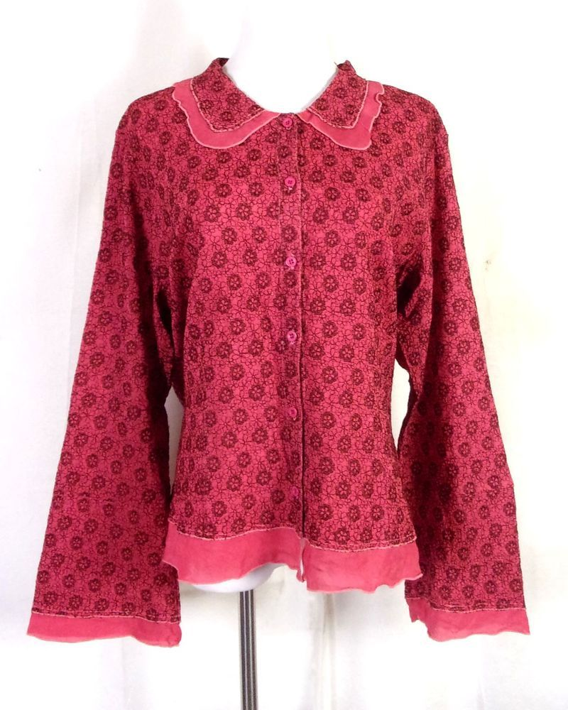 Euc J Jill Red Embroidered Floral Long Sleeve Blouse Shirt Top Sz L