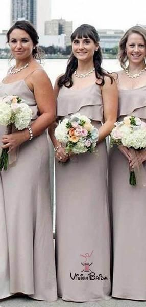 Simple Spaghetti Straps Long Column Chiffon Bridesmaid Dresses, Bridesmaid Dresses, VB02245 #wedding #weddingdresses #weddingdresses2019 #weddingdresseslace #rosegoldbridesmaiddresses
