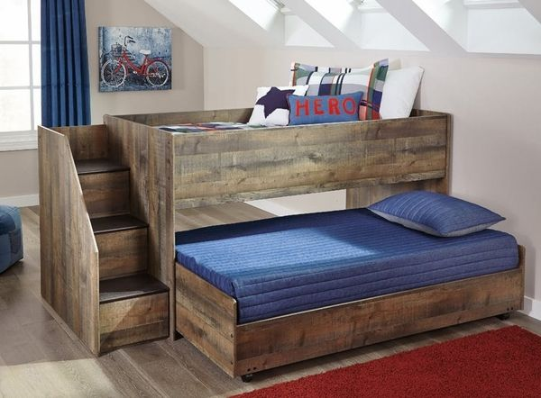 Signature Design Trinell Brown Wood Twin Loft Caster Bed