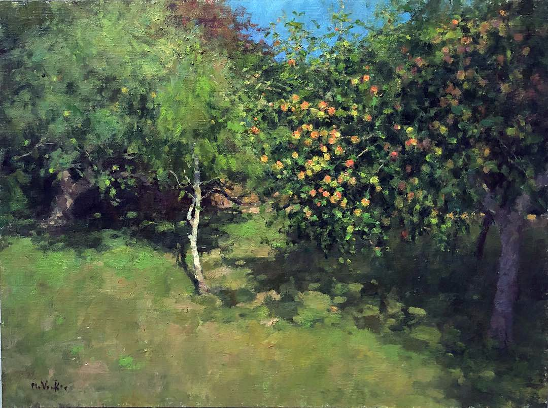 Jim mcvicker 18x24 our apple crop on the trees landscape