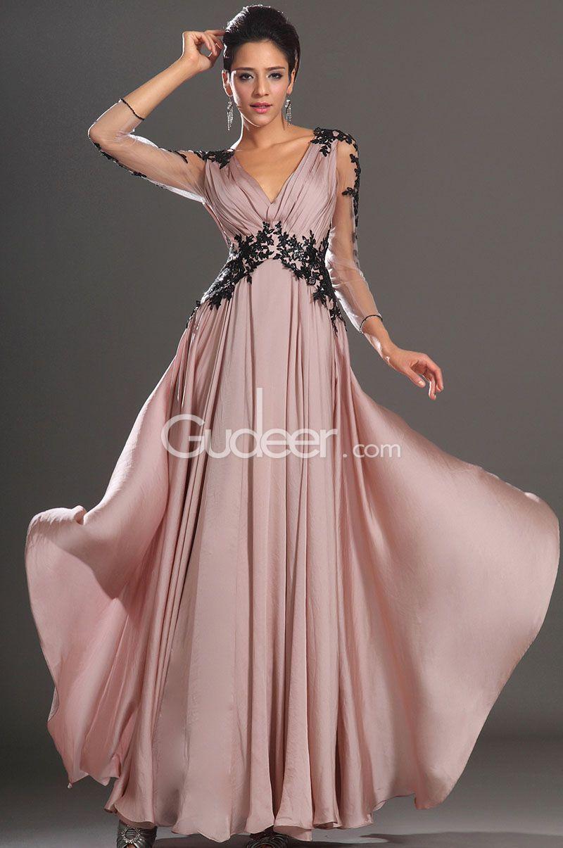 A Line V-Neck Long Sleeve Chiffon Dress