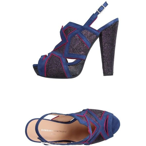 Gordana Dimitrijević Sandals ($375) ❤ liked on Polyvore featuring shoes, sandals, blue, round cap, leather sole sandals, genuine leather shoes, round toe shoes and blue leather sandals