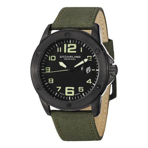 Stuhrling Original Men's 463.335DO54 Pilot Ace Date Green * Click image for more details. | Watches for men. The originals. Quartz