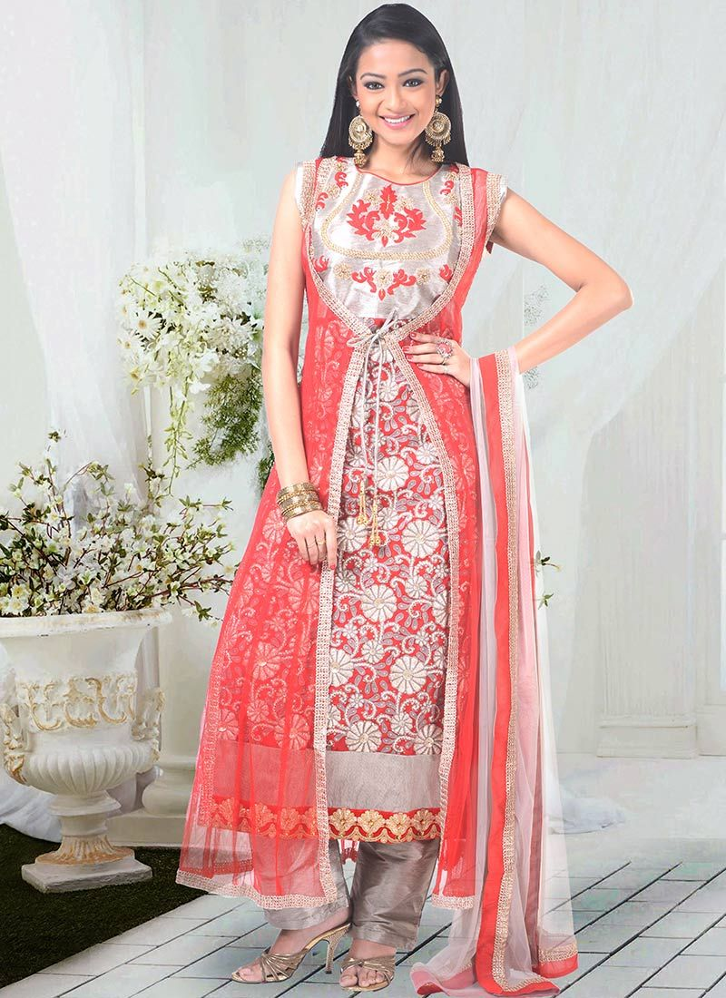 Lovely Embroidered Jacket Style Straight Suit Anarkali Dress