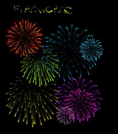 Set of fireworks illustrations:スマホ壁紙
