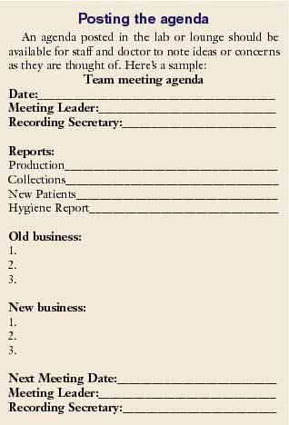 I hate staff meetings! I have been working in my present practice - staff meeting agenda