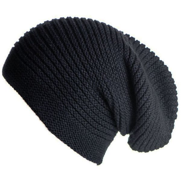 d7c31680881 Black Cashmere Slouch Beanie Hat found on Polyvore