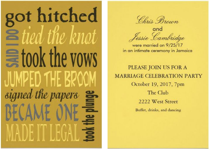21 Beautiful At Home Wedding Reception Invitations Wedding - invitation wording for elopement party