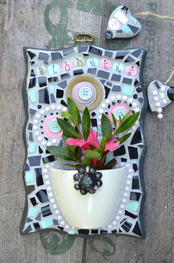 Mosaic Art Half Cup Wall Pocket for flowers with by ViaVIVIAN, $140.00