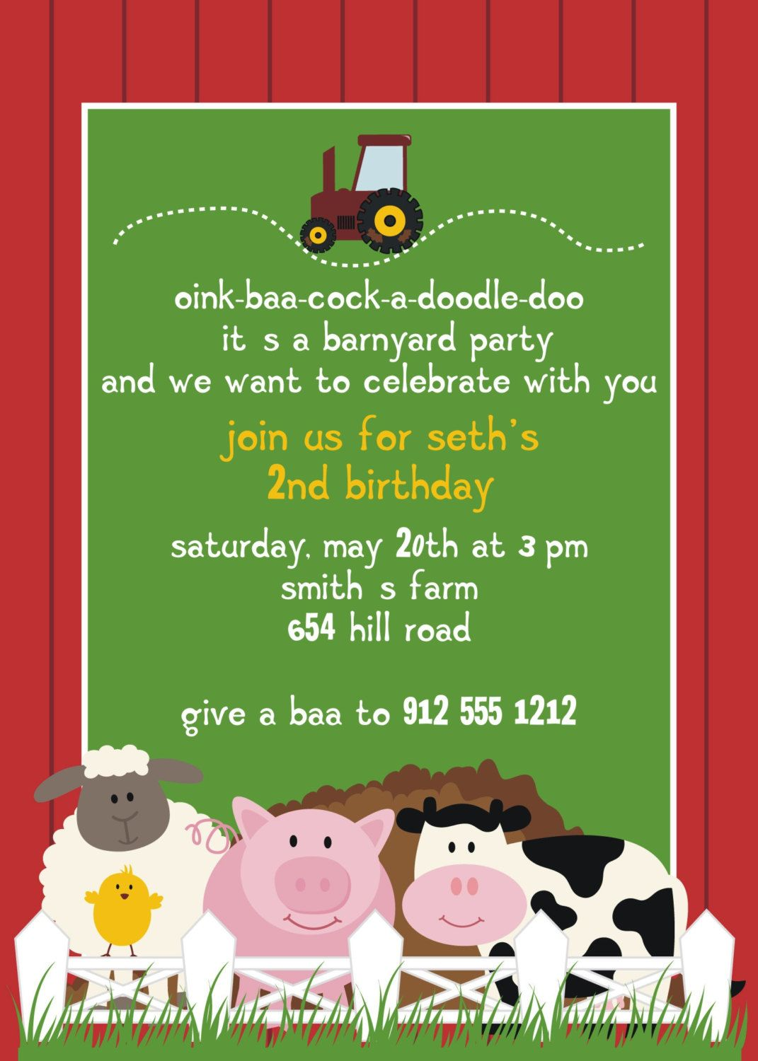 Image detail for -Farm Animal Birthday Party Invitation by ...