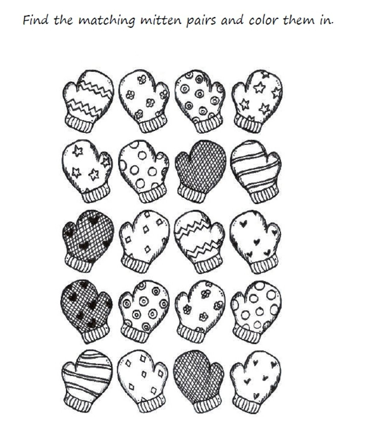 Download And Print Preschool Mitten Winter Coloring Pages