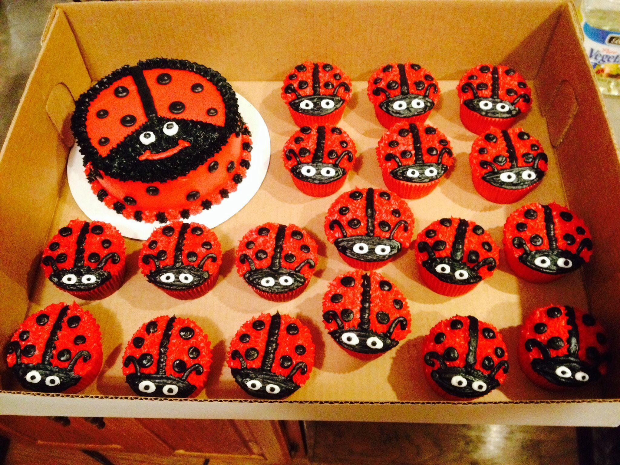 Fine Ladybug Smash Cake And Cupcakes Ladybug 1St Birthdays Ladybug Personalised Birthday Cards Veneteletsinfo