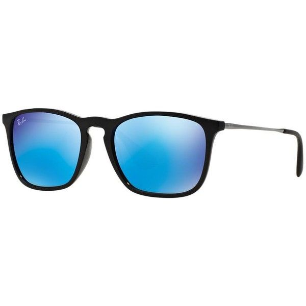 08a9334c8b7 spain ray ban rb4187 54 chris black square sunglasses 130 liked on polyvore  a9f5a cd604