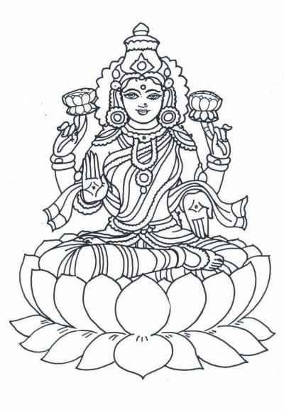 Goddess-lakshmi-coloring-printables.jpg (400×577) | Art ...