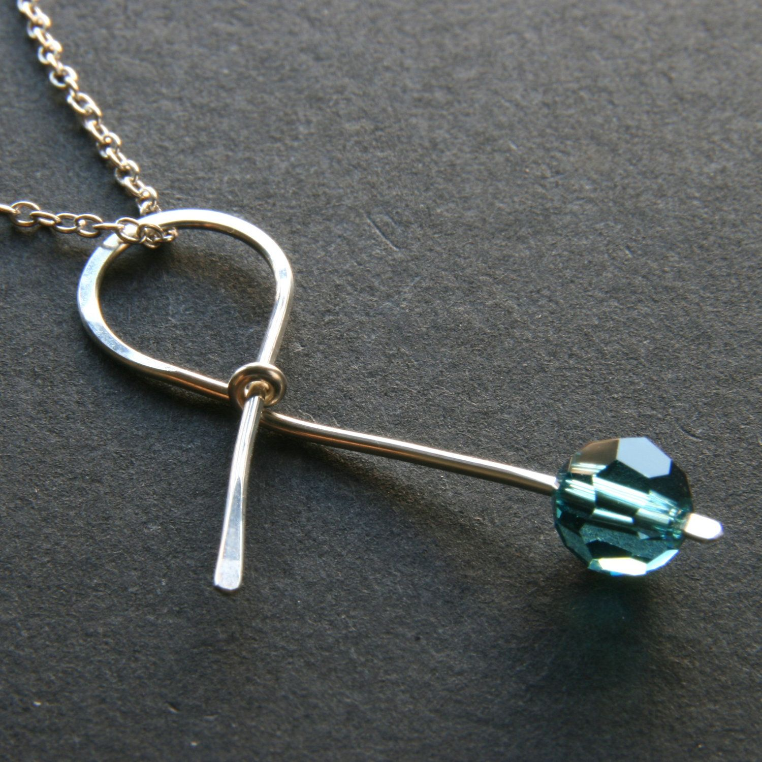 Teal Ribbon Sterling Silver Necklace 36 00 Via Etsy With Images Survivor Jewelry Awareness Jewelry