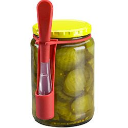 What it was made for: Spearing pickles right from the jar, while keeping your hands free of pickle juice. The three-pronged utensil sits in a little sleeve that attaches to the jar, so it's always handy—midnight snack, anyone?What you can also use it for: Olives, peppers, cherries and any other small, slippery foods that come in a container of liquid.
