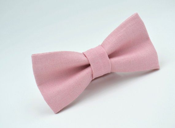 a6ffd14ee723 Mens Bowtie in Baby Pink Linen, Light Pink Bow Tie, Pink Bow Ties,  Groomsmen Bow Tie, Wedding Bow Ti