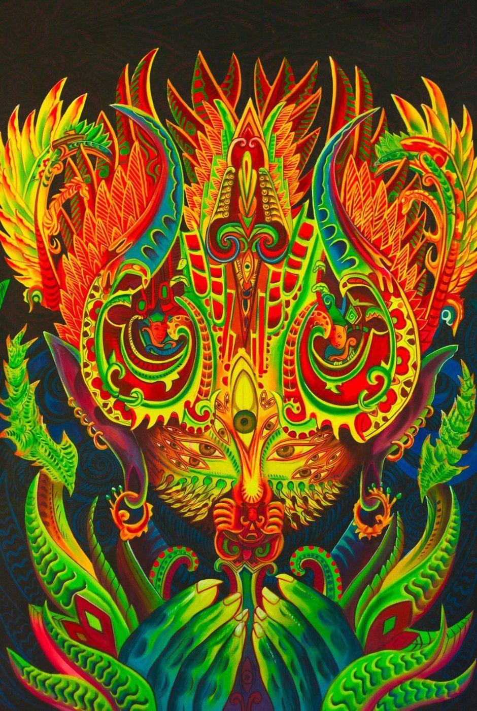 Ayahuasca Spirit UV Painting - handmade on order blacklight active