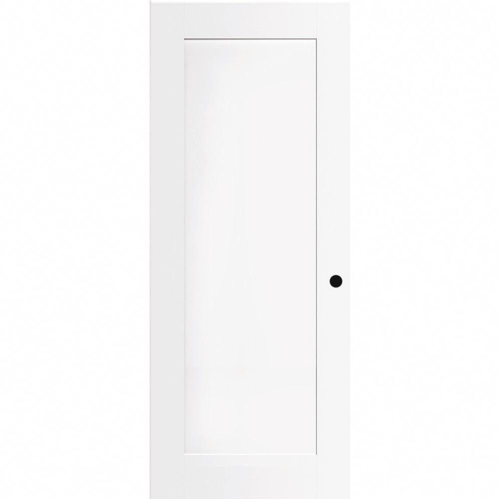 Steves Sons 28 In X 80 In 1 Panel Primed White Shaker Solid Core Wood Interior Door Slab With Bore White Primed Wood Solid Core Interior Doors White Paneling Primed Doors