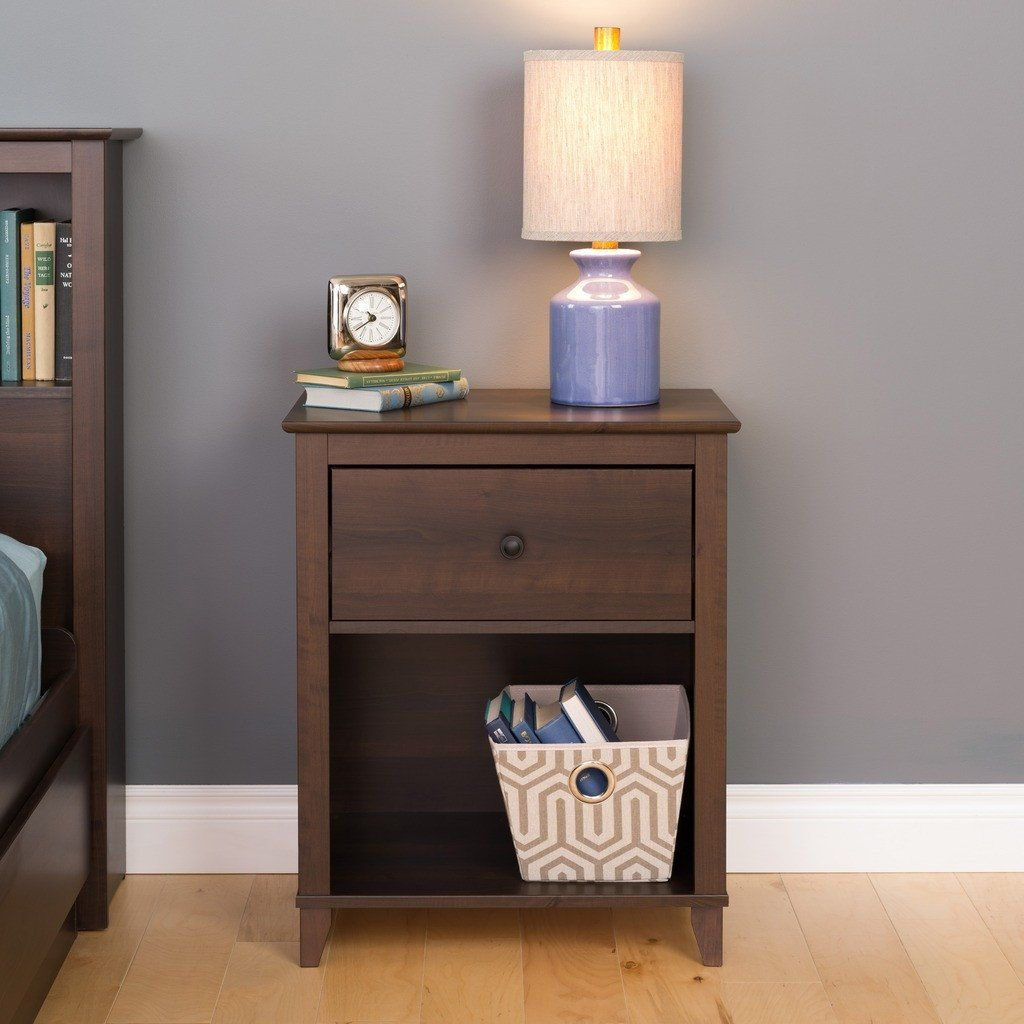 Yaletown 1 Drawer Tall Nightstand Espresso Nightstands