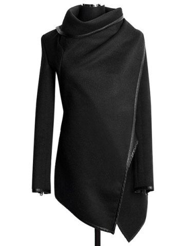 Asymmetrical Long Sleeve Stylish Turtle Abrigos Coat Women's Neck B7HaZwqx
