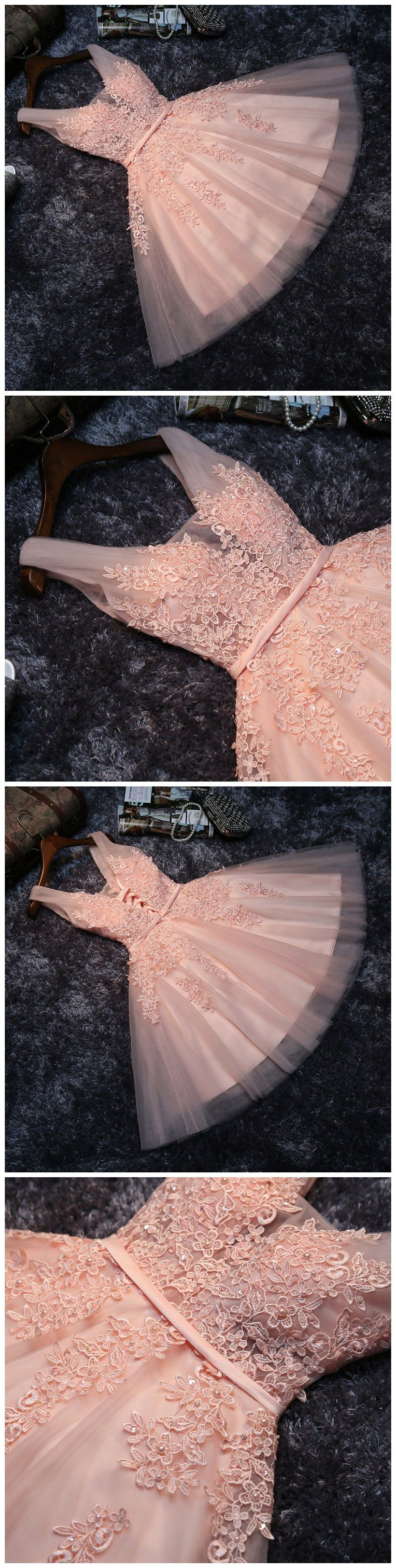 Princess Lace Appliqued Tulle Homecoming Dress,Blush Pink Short ...