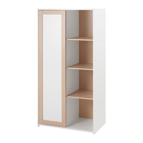SNIGLAR Wardrobe, beech, white Sliding door, Small spaces and - armoire ikea porte coulissante