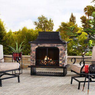 Fleur De Lis Living Sofie Steel Wood Burning Outdoor Fireplace   Wayfair