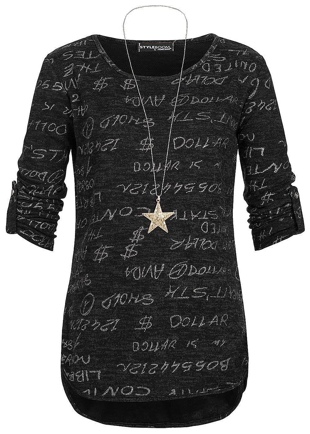 5f102f0efdd Styleboom Fashion Damen Shirt mit Kette Turn-Up Ärmel Text Print schwarz  melange - 77onlineshop