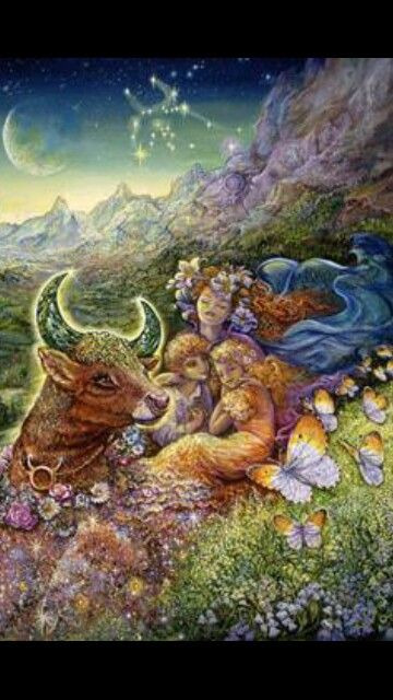 Taurus girls in a lovely meadow with bull